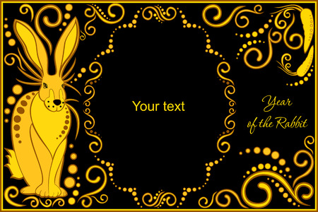 chinese horoscope: vector template with sign chinese horoscope in black and gold colors - rabbit