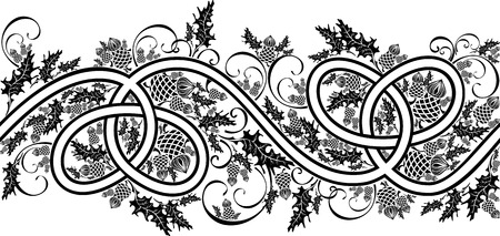 beautiful border with celtic ornament and flowers thistle black and white Vectores
