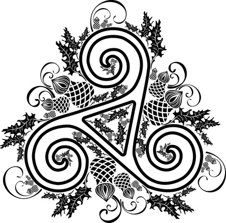 black and white Celtic cross wreathed with flowers of thistles
