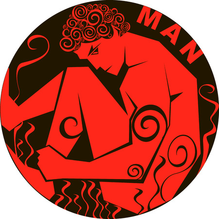 stylized vector image silhouette of a man in a circle