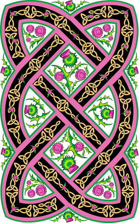 vector beautiful Celtic pattern with flowers thistle 일러스트