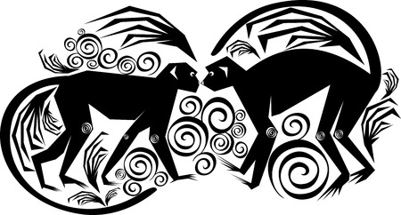 isolated vector stylized image of a pair of monkeys