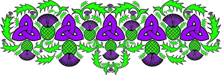 welsh: vector celtic border with flowers of the thistle