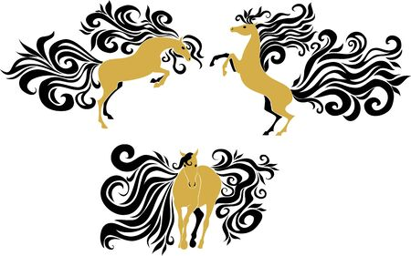manes: stylized image of horses with beautiful manes and tails Illustration