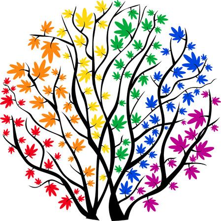 円の形をしたベクトル画像虹の木  イラスト・ベクター素材