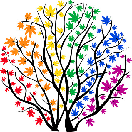 bisexuality: vector image rainbow tree in the shape of a circle