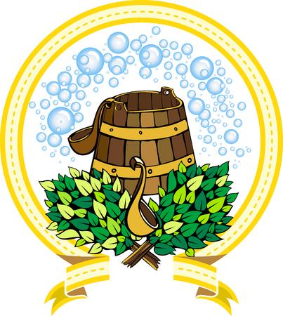 Image vectorielle d'accessoires pour un sauna sous la forme de l'emblème Banque d'images - 56198947