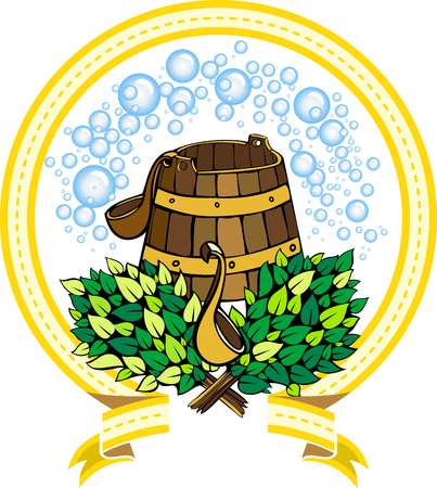 sauna: vector image of accessories for a sauna in the form of the emblem