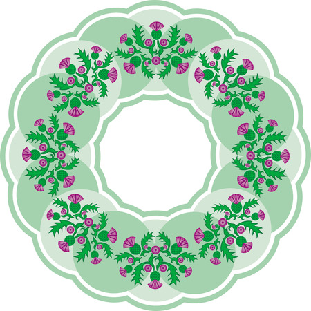 vector image beautiful green round vignette of flowers thistle