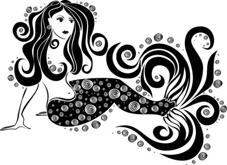 Vector image of a mermaid on an isolated background Illustration