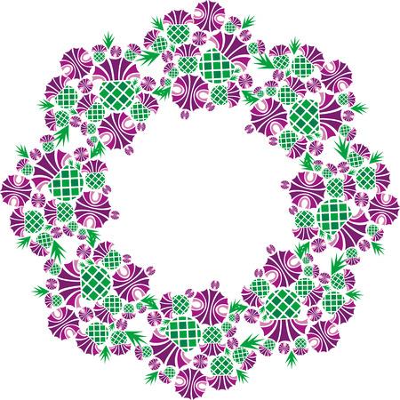 vector image beautiful round vignette of flowers thistle Illustration