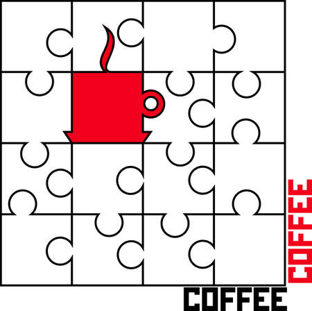 Vector image puzzle with a cup of coffee Illustration
