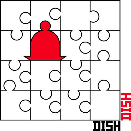 stylized vector image of puzzle with a dish Illustration