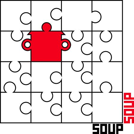 saucepan: stylized vector image of puzzle with a saucepan