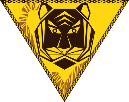 year of the tiger: Chinese horoscope signs in the triangle - Year of the Tiger Illustration