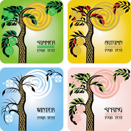 Vector set of four seasons cards with tree