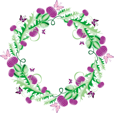 beautiful round vignette in Celtic style with flowers thistle and butterflies Illustration