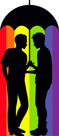 image of gay couple under an umbrella with a rainbow