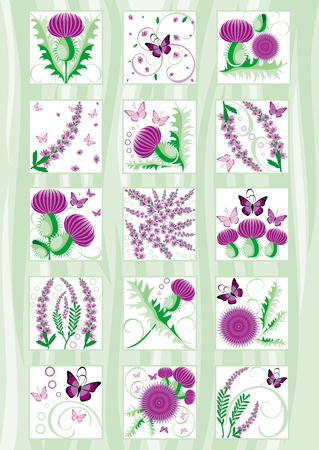 the irish image collection: beautiful set of decorative Scottish flowers thistle and heather