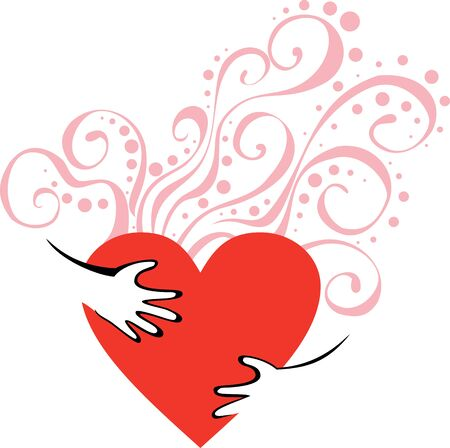vector Image with hands hugging heart for Valentine day