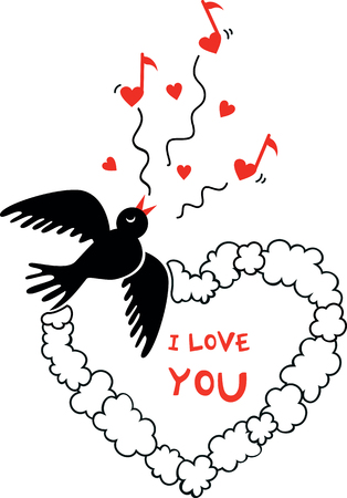 vector Valentines Day picture with flying bird