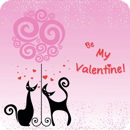 vector card for the Valentines day with couple cats and tree Illustration