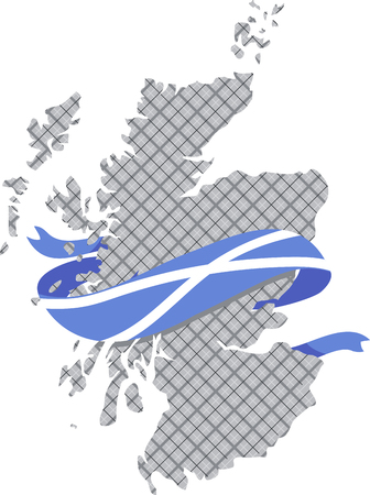 vector image of Scotland map with gray tartan Illustration