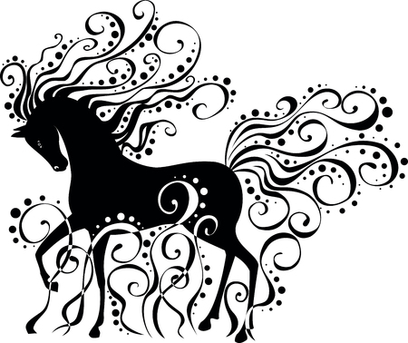 Isolated vector image of a stylized horse with curls.