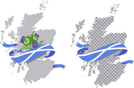 스코틀랜드의 국기와 엉겅퀴 꽃과 스코틀랜드지도의 벡터 이미지 일러스트