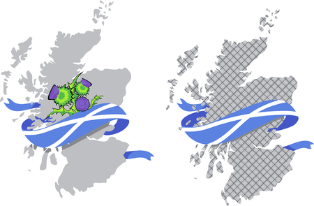 Image vectorielle de la carte de l'Écosse avec le drapeau écossais et les fleurs de chardon Vecteurs