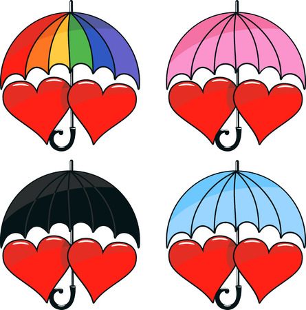 vector set of two hearts under varicoloured umbrella