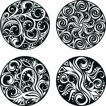 vector isolated set of decorative circle with swirls Illustration