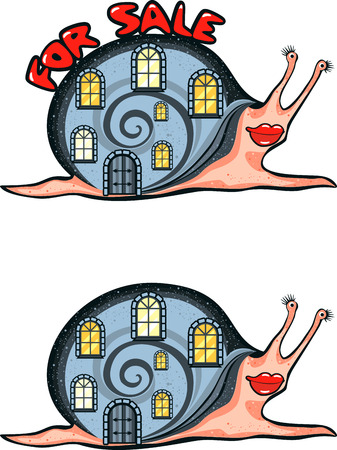 vector image of a funny snail with a the house on his back