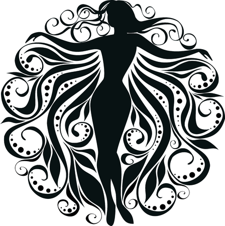 vector stylized image of silhouette a girl in curls Illustration