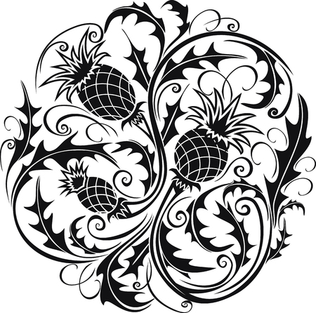 beautiful black and white round vignette in Celtic style with flowers thistle Illustration