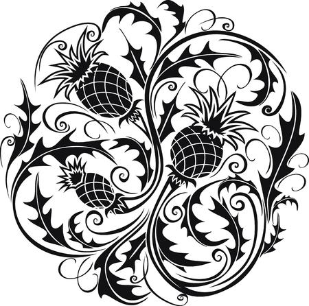 mooie zwart-witte ronde vignet in Keltische stijl met bloemendistel