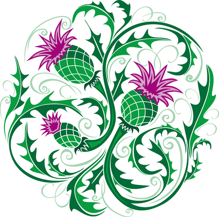 beautiful round vignette in Celtic style with flowers thistle
