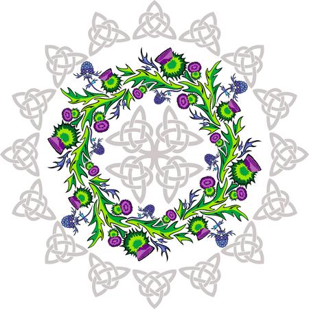 imagen vectorial una roseta con flores de cardo y nudos célticos Ilustración de vector