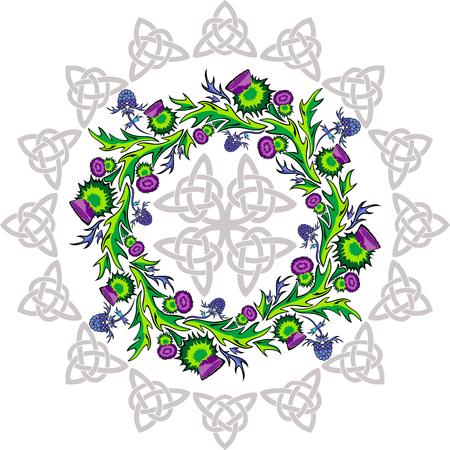 vector image a rosette with thistle flowers and Celtic knots