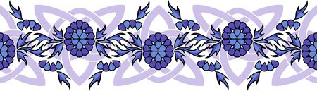 seamless vector border with violet flowers and Celtic knots