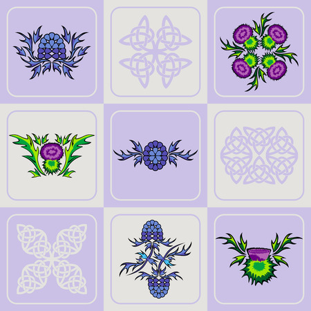 vector stylized set of a thistle flowers and Celtic knots Ilustração