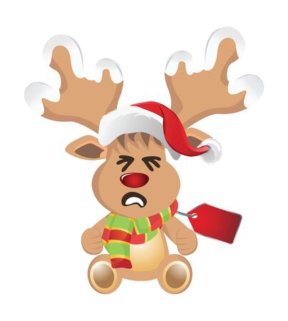 red nosed: Cartoon reindeer with face emotions Stock Photo