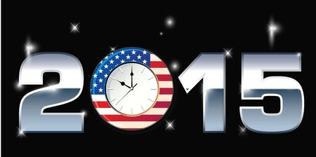 new beginnings: Clock with Words 2015 illustration Stock Photo