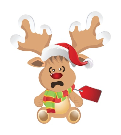 cartoon reindeer: Cartoon reindeer with face emotions Stock Photo