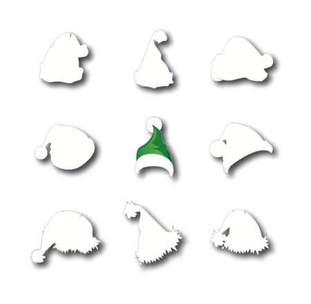 pompon: Santa hats doodles Stock Photo