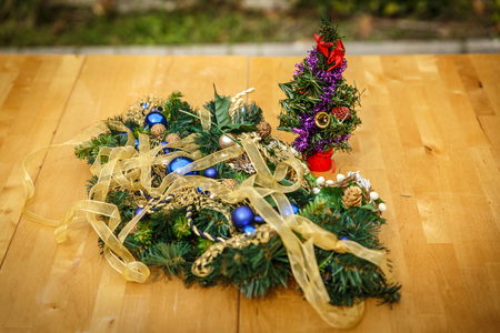 special christmas ornaments on a wooden table in a patio stock photo 67776341