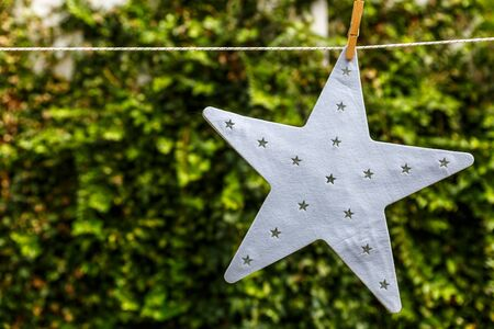A beautiful white star hanging from a rope with a green background, in a yard
