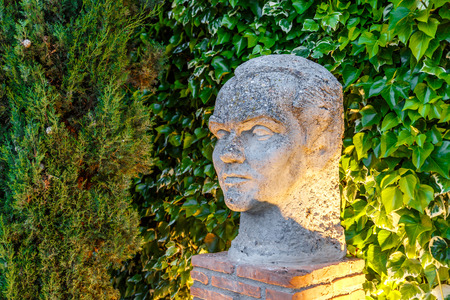Sculpture of the head of the poet Federico Garcia Lorca, in Valderrubio, Granada, Spain