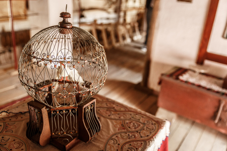 Ancient and beautiful birdcage with a white bird inside, on a table