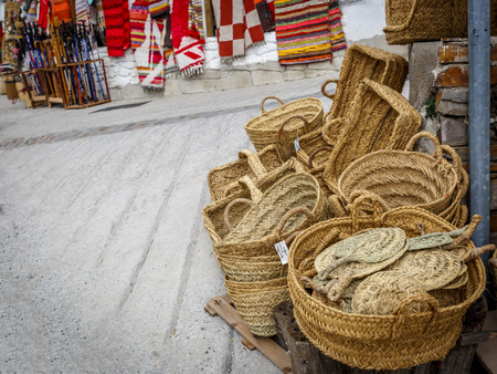 alpujarra: Set of wicker baskets on a street, in a village in Spain Stock Photo